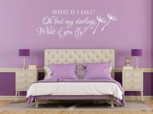 "Wall Quote ""What if I fall?"" Cute Motivation Sticker Vinyl Decal Modern Transfer"